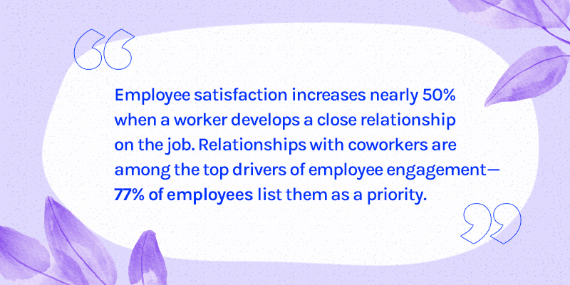 Employee satisfaction increases 50% when relationships are built Wambi blog